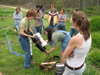 Mollie LeBude Demonstrates Pump Maintenance during a 2009 CRAFT Tour